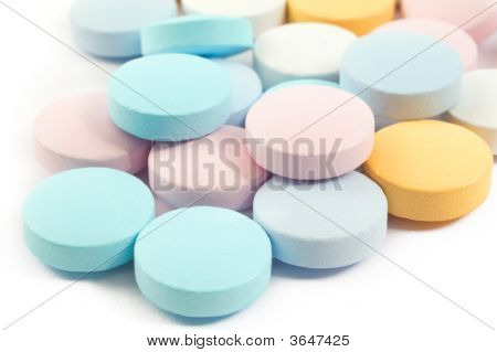 Colourful Pills And Drugs Isolated On White