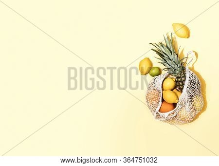 Summer Fruits In A Shopping Bag, Zero Waste Concept, View From Above, Blank Space For A Text
