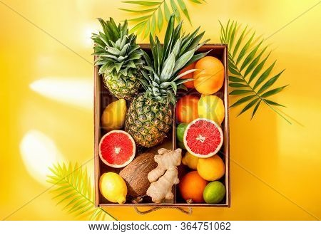 Various Ingredients For Detox Smoothies Or Juices, Summer Dieting Or Clean Eating Concept, Top-down