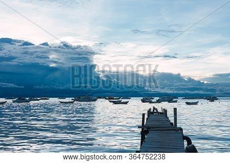 Sunset In The Port Of Lake Titicaca In Copacabana, Bolivia