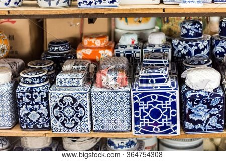 Porcelain At The Panjiayuan Antique Market In Beijing, China
