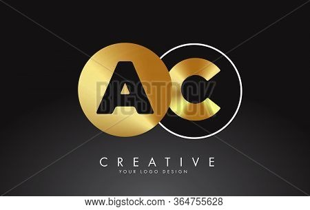 Golden Letters Ac A C Logo With A Minimalist Design. Simple Ac Icon With Circular Name Pattern. Crea