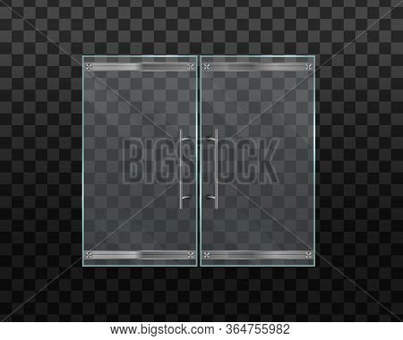 Glass Door Office Or Shopping Center Isolated On Transparent Background. Double Glass Doors To The M