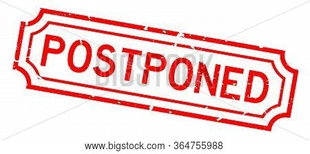 Grunge Red Postponed Word Rubber Seal Stamp On White Background
