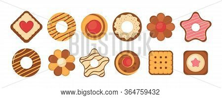 Biscuit Bread Cookies Icon Set. Big Set Different Colorful Pastry Cookie. Set Of Different Chocolate