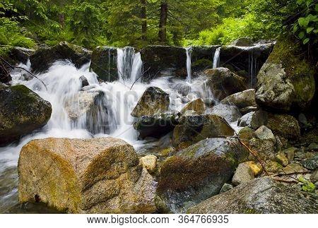 Small Waterfall From Mountain Water In Demanovska Valley In Liptov.