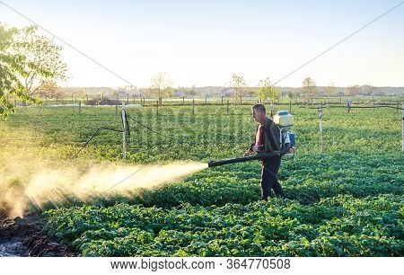 A Farmer Sprinkles A Potato Plantation With An Antifungal Chemical. Use Chemicals In Agriculture. Fi