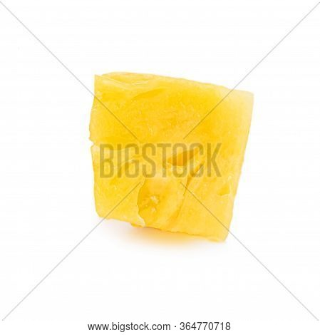 Fresh Sliced Pineapple Isolated On White Background. Pineapple Chunks Close Up.