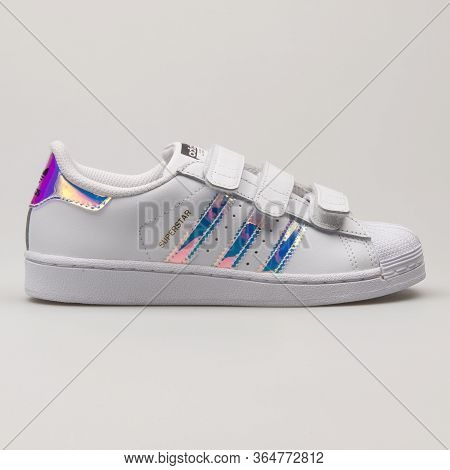 Vienna, Austria - May 27, 2018: Adidas Superstar Cf White And Multicolor Sneaker On White Background