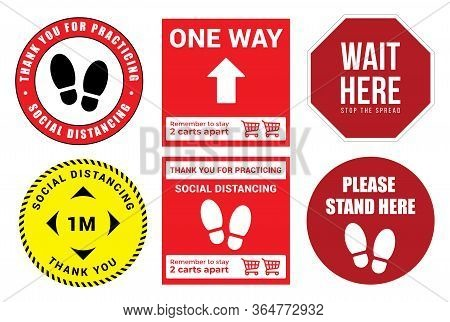 Collection Of Social Distancing Graphic Signs To Use In Public Queue In Vector Format