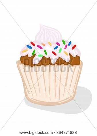 Cupcake Vector Picture Sweets With Cream Powder Muffin Festive Dessert Confectioner Illustration Foo