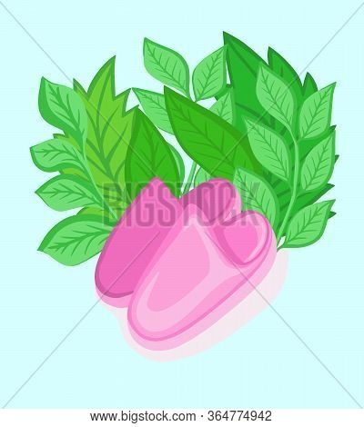 Flat Picture Slippers Room Pink For Home Girly Design Poster Vector