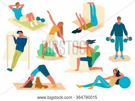Set Of People Sport Activity At Home During Covid19 Pandemic. Man And Woman Perform Sports Exercises