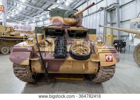 Bovington.dorset.united Kingdom.february 9th 2020.a M3a1 Light Stuart Tank Is On Display At The Tank