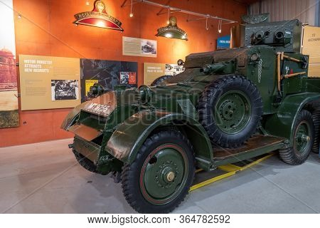 Bovington.dorset.united Kingdom.february 9th 2020.a Lanchester 6x4 Armoured Car Is On Display At The