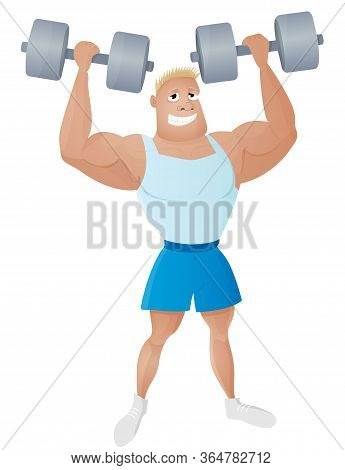 Fit Strong And Healthy Man Weightlifter With A Dumbbells In The Muscular Hands. Smiling Sportsman Bo