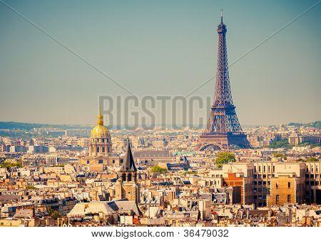 Vista de la Torre Eiffel, París, Francia