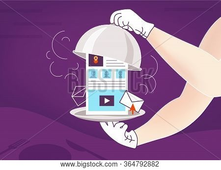 Illustration On Topic Of Satiety With Hot News, Information Space, The Internet, Social Networks, We