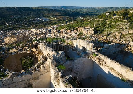 Scicli, Sicily, Italy. 1st January 2020. A Sunny View From Atop The Ruins Above The Chruch Of Saint