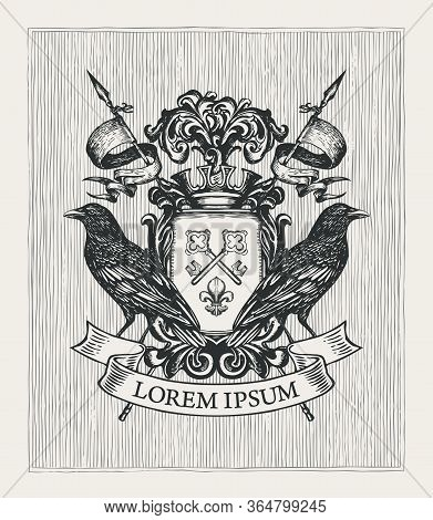 Vector Heraldic Coat Of Arms With Ravens, Crown, Spears, Ribbon, Knightly Shield With Old Keys And F