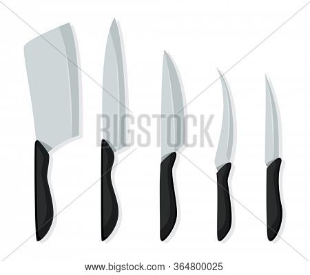 Different kind of knives for chefs, knife icon for butcher shop. Set of butcher meat knives for design butcher themes. realistic kitchen knives isolated
