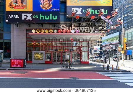 New York, Ny - April 19, 2020: Times Square Subway Station In New York. Times Square Subway Station