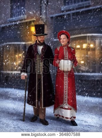 Victorian Couple, Romantic Man And Woman In Jane Austen Style Fashion, In Winter Walking Together On