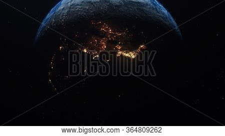 3d Rendering View Of Forest Fires And Wars From Space. A Fiery Radiance Is Visible On The Shadow Sid