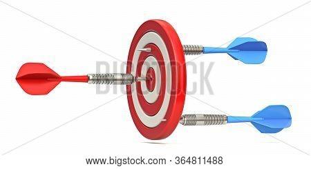 Dart Hitting Target From Opposite Sides 3d Render Illustration Isolated On White Background
