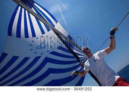 MEDITERRANEAN SEA, TURKEY- MAY 29: Unidentified sailors participates in sailing regatta Sail & Fun Trophy 2012 from Marmaris to Fethiye, May 29, 2012 in the Mediterranean Sea, Turkey.