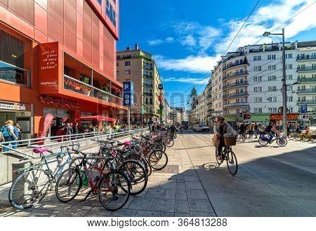 VIENNA, AUSTRIA - SEPTEMBER 27, 2018: People on Landstraber Hauptstrabe  - main street in Landstrabe district, running along Wien Mitte train station.