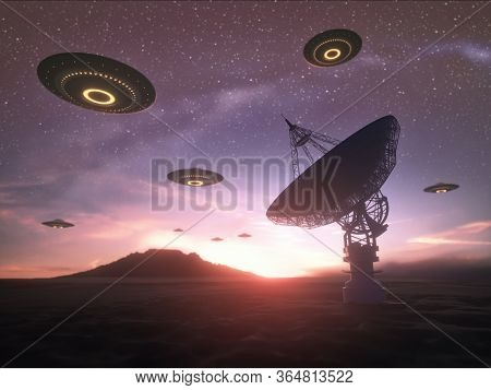 Huge Antenna Dish For Communication And Signal Reception Out Of The Planet Earth. Observatory Search