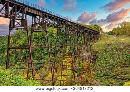 The Old Railroad Trestle At Letchworth State Park In New York
