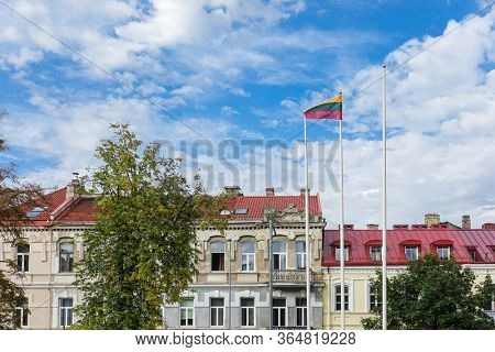 VILNIUS, LITHUANIA - September 2, 2017: Flag of Lithuanian in Vilnius, Lithuanian