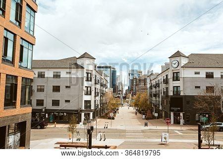 Denver, Colorado - May 1st, 2020: Overlooking Businesses From Highland Bridge, A Pedestrian Bridge C