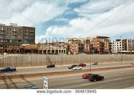 Denver, Colorado - May 1st, 2020:  Lohi Neighborhood Of Downtown Denver Overlooking Highway I-25.  L