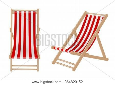Isolated Deck Chair On White Background. Wooden Deck Chairs With White And Red Stripes