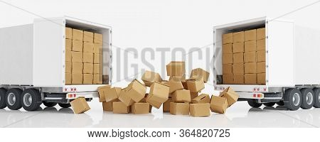 Many moving boxes fall out of the truck of a freight forwarder when moving (3D Rendering)