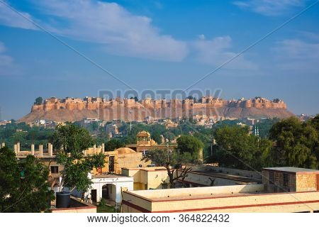 Famous tourist landmark of Rajasthan Jaisalmer Fort known as the Golden Fort Sonar quila, Jaisalmer, Rajasthan, India