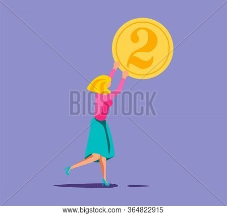 Young Woman Holds A Coin Two Cents. Put My Two Cents In Or Cash Back Rewards Metaphor. Isolated On P
