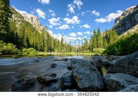 Looking Down Cascade Creek In Cascade Canyon In Grand Teton National Park