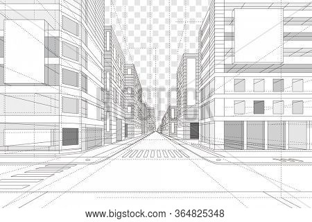 3D illustration Abstract Architecture Building Line Drawing.