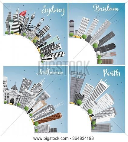 Australian Cities. Sydney Brisbane Perth and Melbourne City Skyline with Gray Buildings, Blue Sky and Copy Space. Business Travel and Tourism Concept with Modern Architecture.
