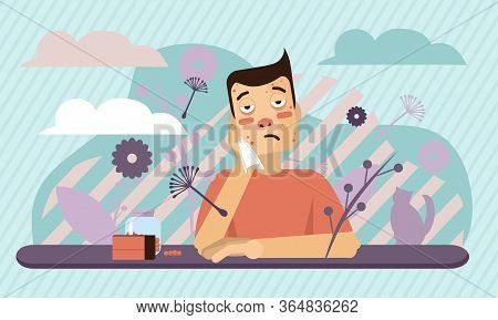 Sick Allergic Man. Unhappy Character. Vector Cartoon Illustration. Man With Handkerchief In Hand. Se
