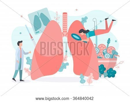 Diagnostics Of Diseases Of The Pulmonary System.  Lungs Health. Medical Concept With Tiny People. Fl
