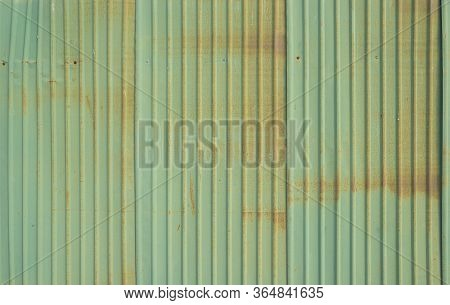 Metal Strips. Rusty Corrugated Iron Metal, Zinc Steel Wall, Pattern Texture Background. Close-up Of