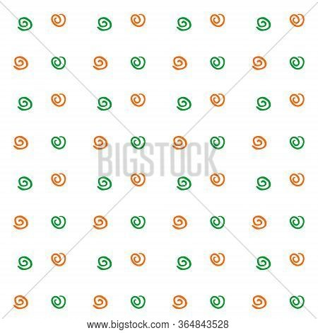 Dark Seamless Pattern Texture Of Simple Vector White Elements Spirals Helixes On Black Background. F