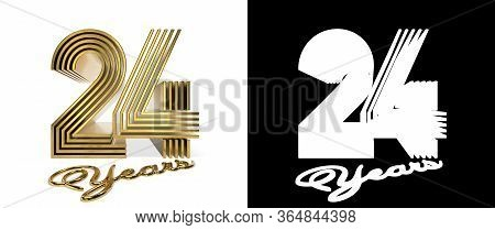Number 24 (number Twenty-four) Anniversary Celebration Design With Five Parallel Lines On A White Ba