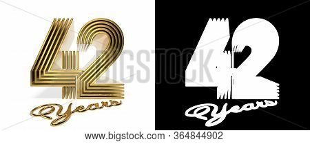 Number 42 (number Forty-two) Anniversary Celebration Design With Five Parallel Lines On A White Back