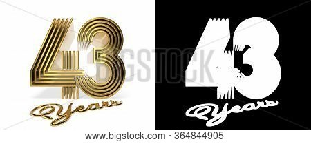 Number 43 (number Forty-three) Anniversary Celebration Design With Five Parallel Lines On A White Ba